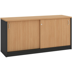 OM CREDENZA W1200 x D450 x H720mm Beech Charcoal
