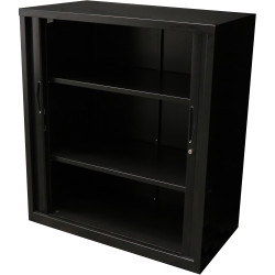 RAPIDLINE GO TAMBOUR CUPBOARD 2 SHELVES 900 W x 1016mm H x 473mm D Black
