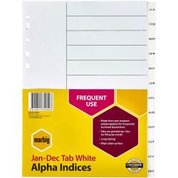 MARBIG ALPHABETICAL INDICES A4 PP Jan-Dec White