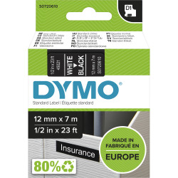 DYMO D1 LABEL CASSETTE 12mmx7m -White on Black