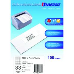 UNISTAT LASER/INKJET LABELS Copier 33/Sht 70x25mm