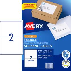 AVERY J8168 MAILING LABELS Inkjet 2/Sht 199.6x143.5 Ship