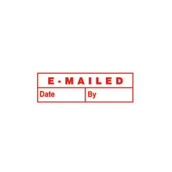 DESKMATE PRE INK STAMP EMAILED (DATE & BY) Red E10