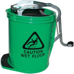 CLEANLINK H/DUTY MOP BUCKET Metal Wringer 16 Litre Green