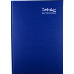CUMBERLAND PREMIUM CASEBOUND Diary A4 WTO 1/2 Hr Blue